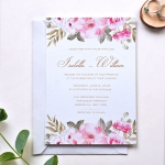 Modern vellum floral wedding invite with dusty blue ribbon spring summer WS183