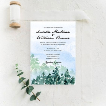 Watercolor mountain wedding invite with trees, modern wedding invite, cheap wedding invite, rustic wedding invite WS184