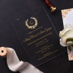 Royal style acrylic wedding invite, foil wedding invite with intricate pattern, clear invite, vellum invite WS187