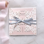 Mild elegant ivory and blush square wrap wedding invitations, cheap laser cut wedding invitations with gray ribbon, spring, summer. WS186