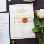 Royal gold monogrammed acrylic wedding invitations, foil wedding invite WS188
