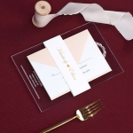 Elegant blush gold acrylic wedding invite, foil belly band SW191
