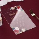 Boho rustic acrylic floral wedding invite, burgundy and navy flowers WS192