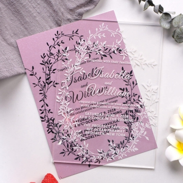 Elegant rustic acrylic wedding invitations, spring summer, mauve invite  WS195