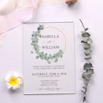 Rustic greenery wreath acrylic wedding invitation, spring, minimalist invite, simple wedding invite WS196