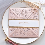 Blush and gold laser cut wedding invite, elegant wedding invite, belly band WS198
