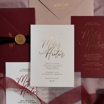Elegant foil wedding invite, burgundy and ivory, vintage invite WS200