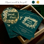 Elegant emerald and luxe gold wedding invite, foil wedding invite, royal wedding invite WS201