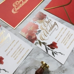 Romantic red watercolor wedding invite, vellum wedding invite, gold foil invite rustic WS202