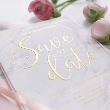 Marble geometric gold foil wedding save the date, letterpress wedding invite. STD008