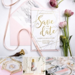 Marble geometric gold foil wedding save the date, letterpress wedding invite. WS203