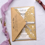 Gold and silver laser cut pocket wedding invite, fall and winter formal invite  WS207
