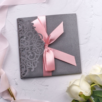 Elegant gray and blush laser cut pocket wedding invitation WS209