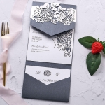 Romantic laser cut all in one wedding invite with pocket, gray invite WS210
