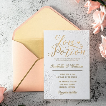 Blush gold foil romantic wedding invitation suite WS212