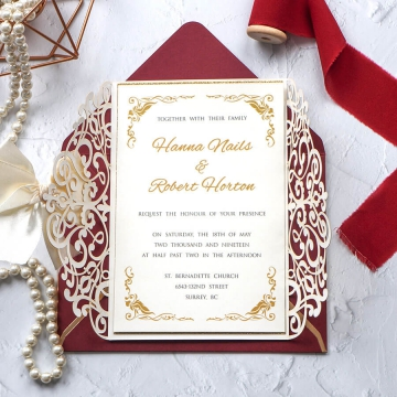 Luxury gold ivory wedding invitation, romantic wedding invitation fall and winter WS213