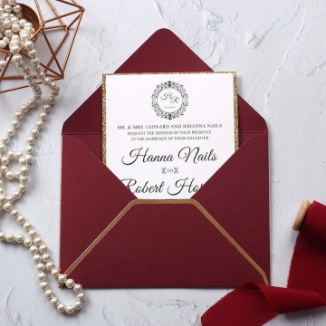 Elegant burgundy and gold laser cut wedding invitation, monogrammed wedding invite, royal wedding invite WS214