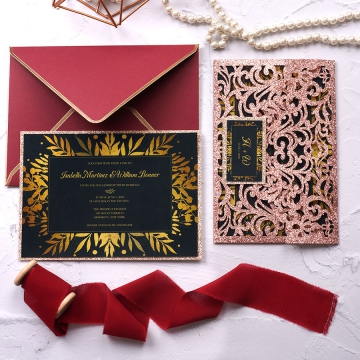WS215 Luxury rose gold glittering laser cut pocket wedding invitation with tag WS215