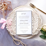 Silver mirror and blush laser cut invitations with pink ribbon WS216