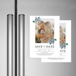 Romantic save the date card with photos STD009