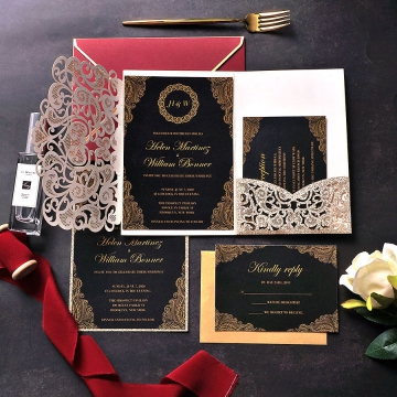Romantic gold glittering wedding invitation royal, fall and winter, vintage wedding WS218