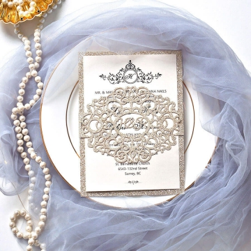 Simple laser cut wedding invite with royal pattern design WS220