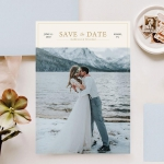 Romantic save the date magnets with pictures STD011