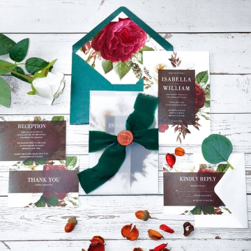 Rustic watercolor deep burgundy vellum wedding invite with flowers WS222