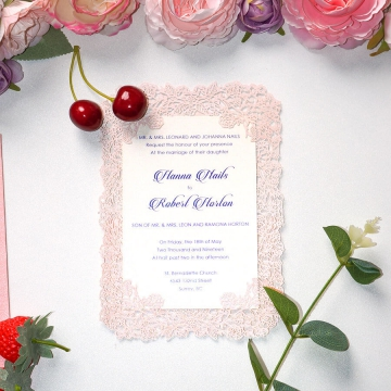 Blush laser cut wedding invite, simple and affordable wedding invite elegant WS221