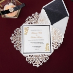 Romantic and luxury gold mirror and black laser cut square wedding invitations for fall and winter WS223