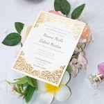 Simple flat laser cut wedding invite with gold mirror lining WS224