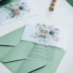 Simple elegant acrylic wedding invitations with boho style vellum wrap, green and blush, watercolor invite WS226
