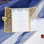 Gold and blue laser cut wedding invite with heart tag WS218