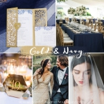 Gold and blue laser cut wedding invite with heart tag WS228