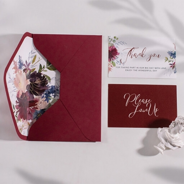 Boho style watercolor wedding invite burgundy colors, fall and winter weddings, rustic wedding invite WS227