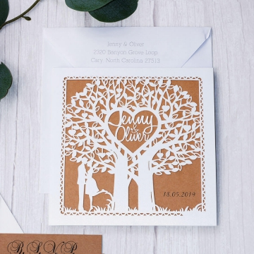 Unique rustic laser cut wedding invite, fold wedding invite, barn wedding WS229