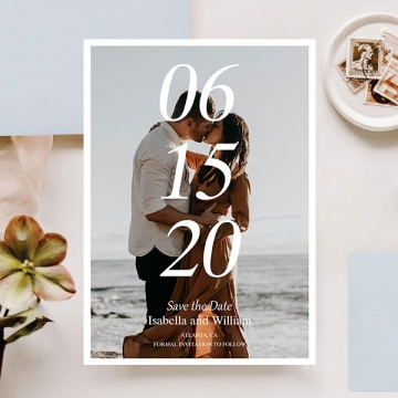 Romantic save the date magnet with engagement photos STD014