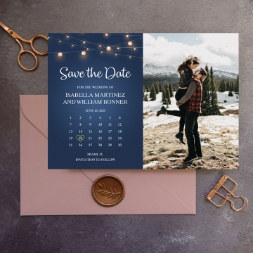 Navy blue string lights wedding save the date with photos, save the date magnets with pictures STD015