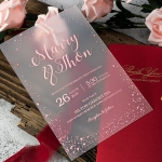 Rose gold acrylic wedding invitations, vellum wrap with watercolor flowers  WS230