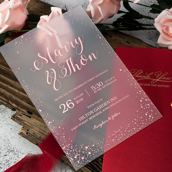 Rose Gold Acrylic Wedding Invitations Vellum Wrap With Watercolor Flowers Ws230 Wedding Invitations Wedding Invites Paper