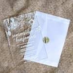 Minimalist rustic floral acrylic wedding invitations, tropical style, country wedding invite WS241