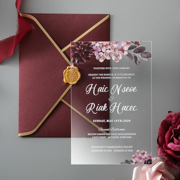 Burgundy rustic floral acrylic wedding invitation WS241