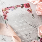Romantic burgundy and purple watercolor floral acrylic wedding invite WS243