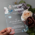 Simple rustic floral acrylic wedding invite with blush and blue hues, spring and summer weddings, fall weddings WS244