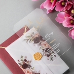 Burgundy and gold acrylic and vellum wedding invitations, watercolor rustic wedding invitations WS245