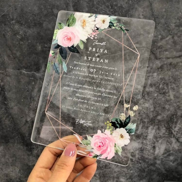Elegant and rustic blush roses acrylic wedding invite with geometric design, watercolor wedding invite WS248