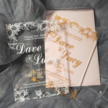 Romantic and luxury gold foil acrylic wedding invitations with leafy pattern WS249