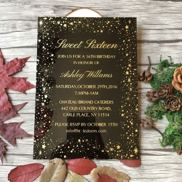 Black acrylic wedding invitations with an array of stars decors, gold wedding invitations, fall and winter weddings WS250