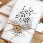Romantic and rustic vellum save the date with twine and tag, craft paper lining invite STD016