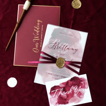 Elegant vintage burgundy watercolor wedding invitations, fall or winter weddings, rustic wedding invites WS258